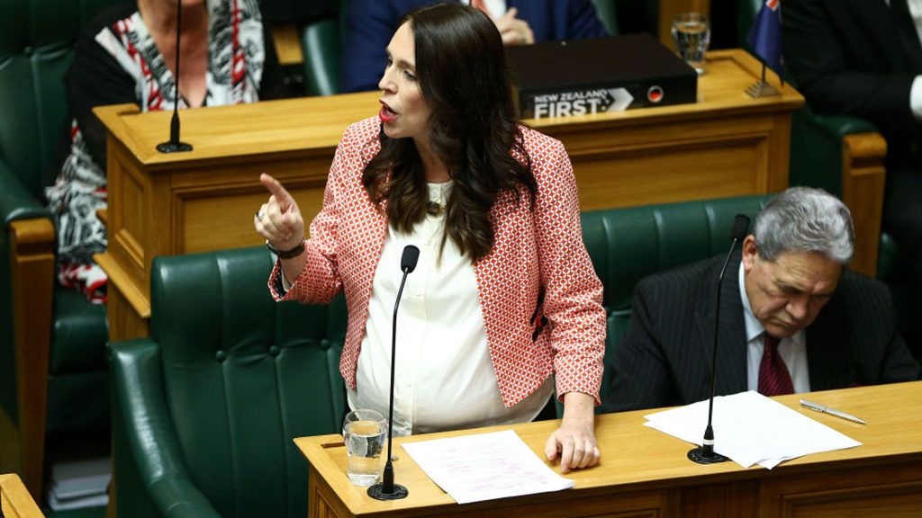 WELLINGTON, NEW ZEALAND - MAY 17:  Prime Minister Jacinda Ardern speaks during the 2018 budget presentation at Parliament on May 17, 2018 in Wellington, New Zealand. Grant Robertson delivered his first budget which sees a large investment in the health sector including cheaper doctor visits and investment in hospitals along with $1.6b dollars of new funding for the education sector over the next four years.  (Photo by Hagen Hopkins/Getty Images)