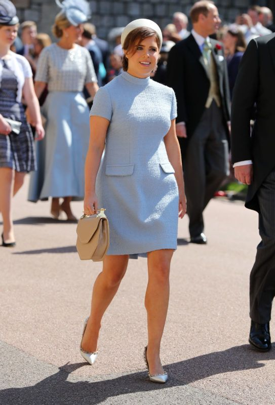 WINDSOR, UNITED KINGDOM - MAY 19:  Princess Eugenie arrives at St George's Chapel at Windsor Castle before the wedding of Prince Harry to Meghan Markle on May 19, 2018 in Windsor, England. (Photo by Gareth Fuller - WPA Pool/Getty Images)