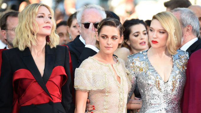 """CANNES, FRANCE - MAY 19:  (L-R)  Jury president Cate Blanchett, Jury members Kristen Stewart and  Lea Seydoux attend the Closing Ceremony & screening of """"The Man Who Killed Don Quixote"""" during the 71st annual Cannes Film Festival at Palais des Festivals on May 19, 2018 in Cannes, France.  (Photo by Dominique Charriau/WireImage)"""