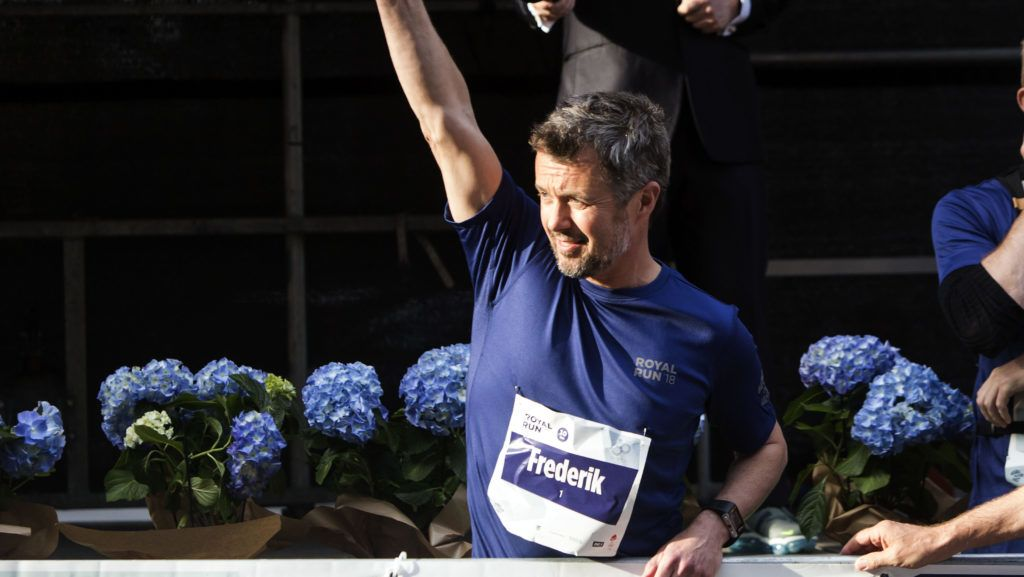 COPENHAGEN, DENMARK - MAY 21: Crown Prince Frederik of Denmark starts the Royal Run on May 21, 2018 in Copenhagen, Denmark. Crown Prince participated himself in the second group of athletes. The Royal Run took place in the cities of Aalborg, Aarhus, Esbjerg, Odense and Copenhagen with around 70,000 participants and is part of the 50th birthday celebration for the Crown Prince. (Photo by Ole Jensen/Getty Images)