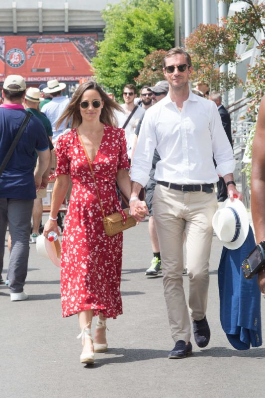 PARIS, FRANCE - MAY 27:  Pippa Middleton and James Matthews are seen in Roland Garros on May 27, 2018 in Paris, France.  (Photo by Stephane Cardinale - Corbis/Corbis via Getty Images)