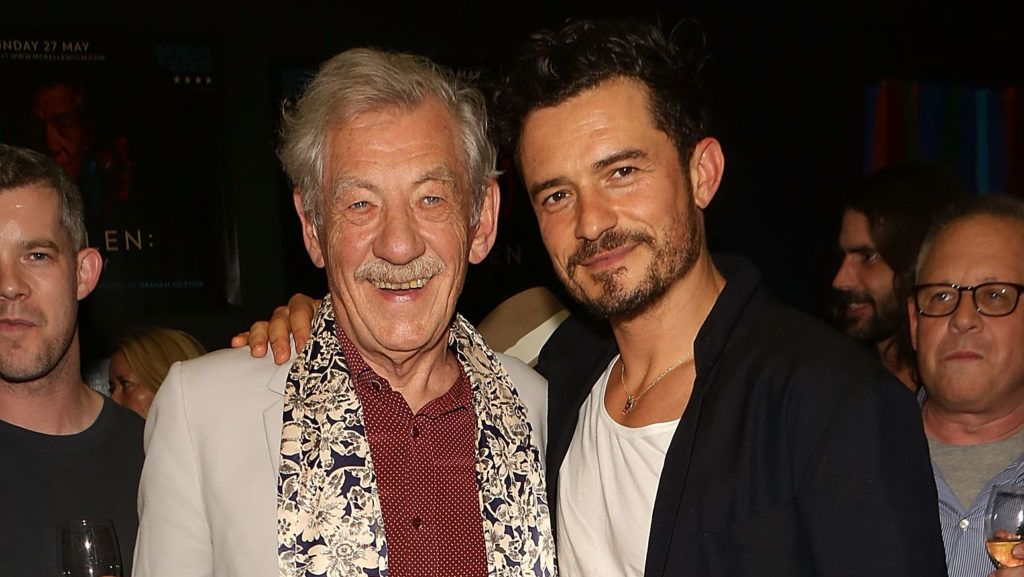 """LONDON, ENGLAND - MAY 27:  (L-R) Orlando Bloom and Sir Ian McKellen attend a special screening of """"McKellen: Playing the Part"""" at the BFI Southbank on May 27, 2018 in London, England.  (Photo by David M. Benett/Dave Benett/Getty Images)"""