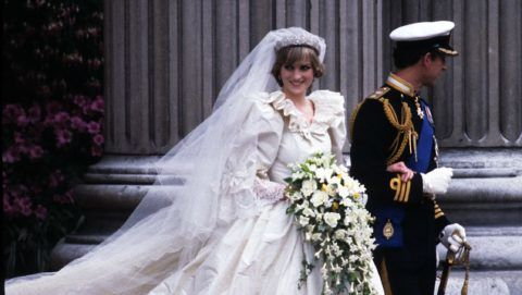 LONDON, UNITED KINGDOM - JULY 29:  Diana, Princess of Wales, wearing an Emanuel wedding dress, leaves St. Paul's Cathedral with Prince Charles, Prince of Wales at their wedding on 29 July, 1981 in London, England. (Photo by Anwar Hussein/Getty Images)
