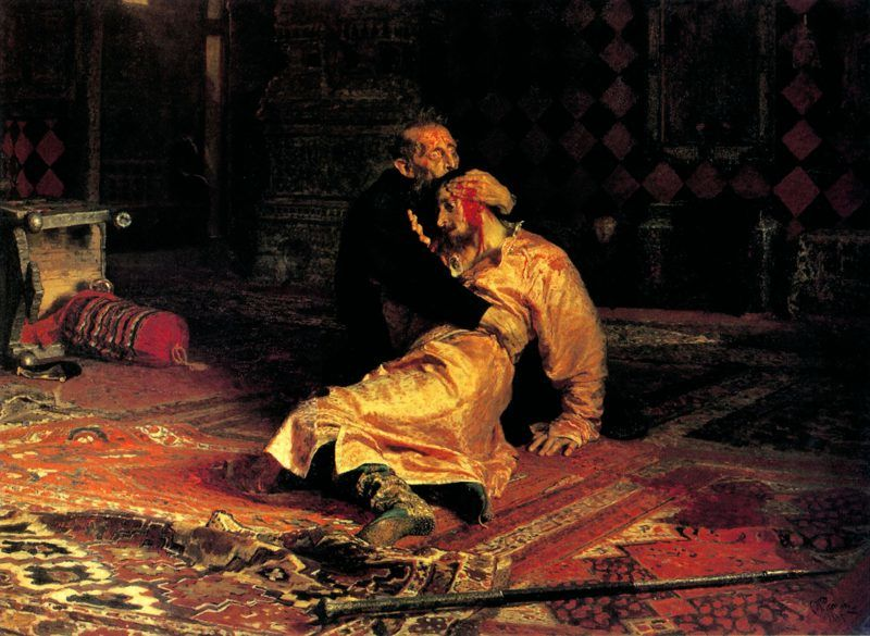 In 1581, Ivan beat his son, Ivan in a heated argument causing his son's death. Depicted in the painting by Ilya Repin, 'Ivan the Terrible killing his son' by Ilya Repin. Ivan IV 'the Terrible' (1530 – 1584) Tsar of Russia 1533 - 1584. World History Archive