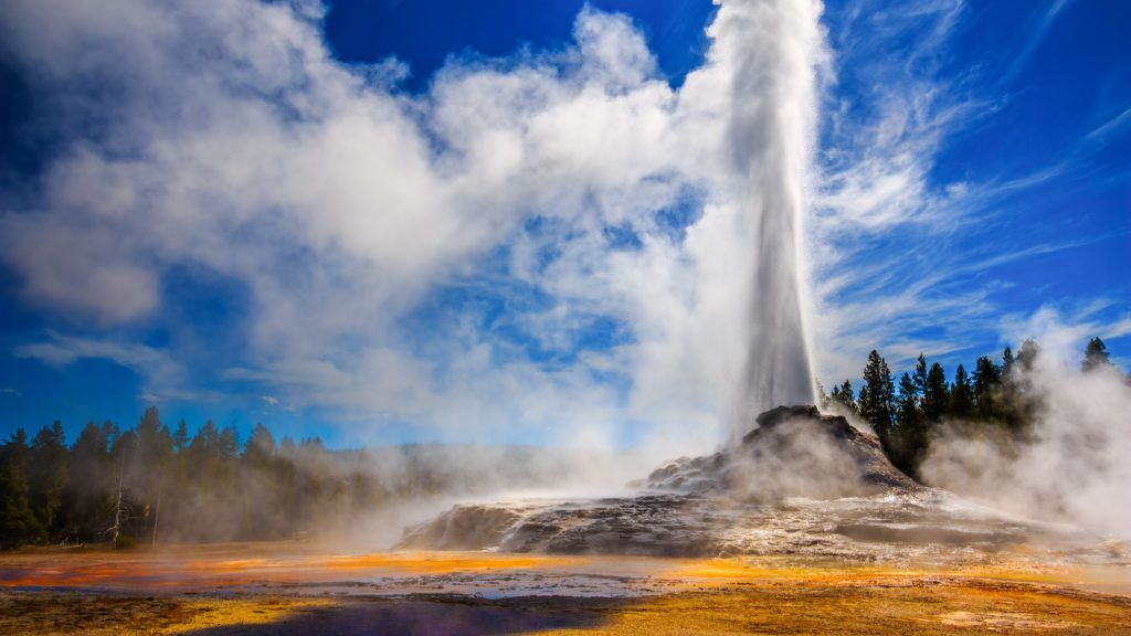 Castle Geyser erupting in Yellowstone in strong back light.