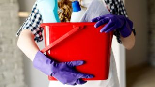 Close-up of woman's hands holding red bucket full of cleaners