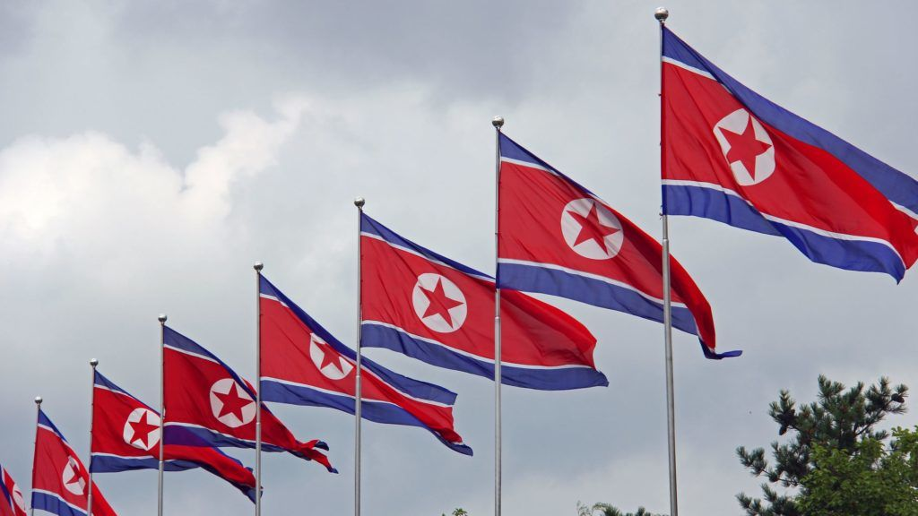 Line up of flags at Kumsusan Memorial Palace Of The Sun (mausoleum of Kim Il Sung and Kim Jong Il). A palatial structure where the two leaders lay in state, and each has a museum dedicated to them.  Pyongyang  North Korea DPRK August 2013