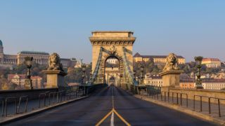 A view along the Széchenyi Chain Bridge in Budapest towards the Buda side of the city. There is space for text.