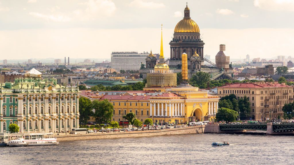 View of the St. Petersburg and the Neva River, Russia. St. Isaac's Cathedral in the distance.
