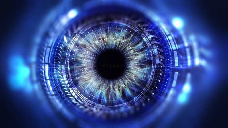 Eye viewing digital information represented by circles and signs, background depth of field. Technology concept. 3D illustration