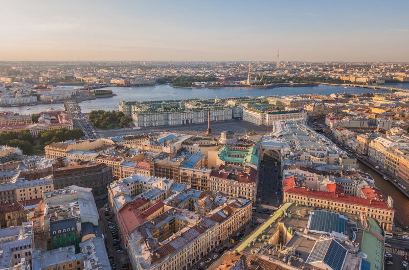 Cityscape of Saint-Petersburg, Russia. Aerial view of Palace Square, Winter palace and Peter and Paul fortress