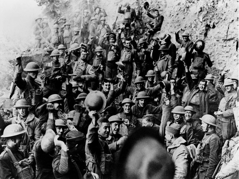 Jubilant American soldiers in Jaulny (Meurthe et Moselle), November 11, 1918 64th Infantry Regiment, 4th Division France, World War I Washington, Library of congress