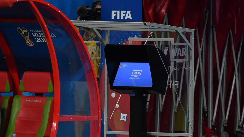 5545996 20.06.2018 The video assistant referee system monitor installed next to a pitch as officials control the the World Cup Group B soccer match between Iran and Spain at the Kazan arena, in Kazan, Russia, June 20, 2018. Vladimir Pesnya / Sputnik