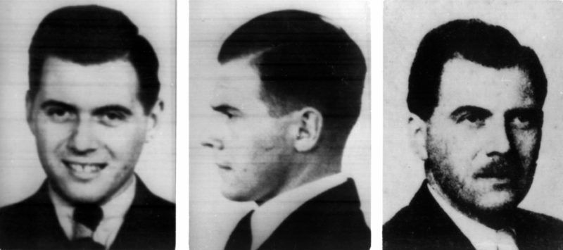 (dpa files) - Three headshots show the wanted Nazi concentration camp physician Josef Mengele. The photos on the left and in the centre are dating from 1938, the picture on the right from 1956.