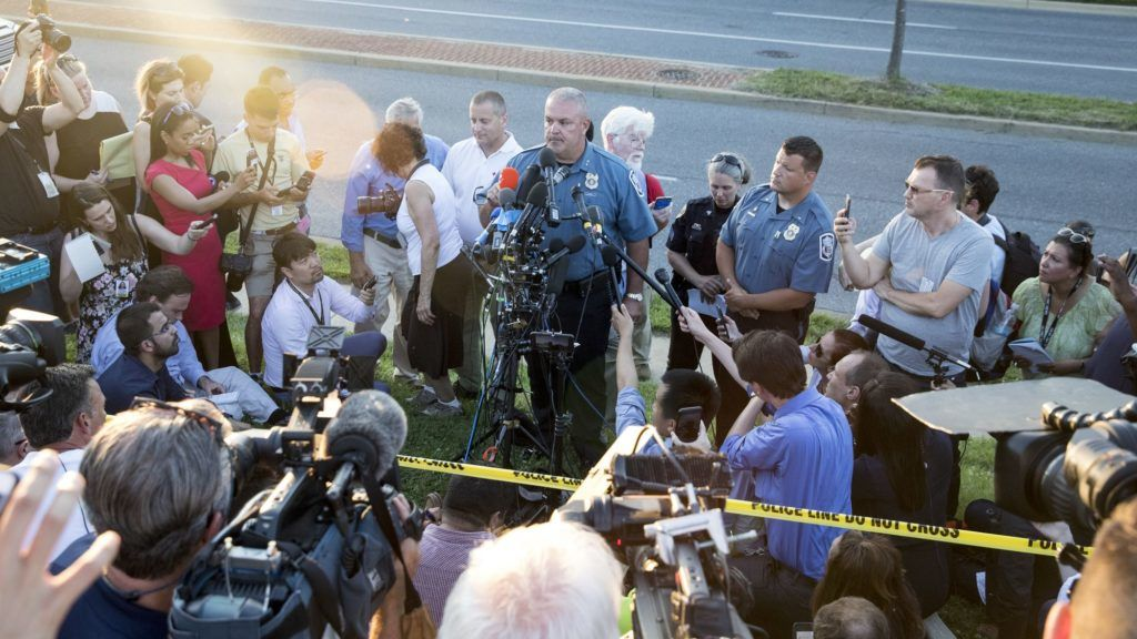 ANNAPOLIS, MARYLAND - JUNE 28, 2018: Acting chief of police William Krampf speaks at a press conference about the Capital-Gazette shooting on June 28, 2018 in Annapolis, Maryland. At least five people were killed Thursday when a gunman opened fire inside the offices of the Capital Gazette, a newspaper published in Annapolis, a historic city an hour east of Washington. A reporter for the daily, Phil Davis, tweeted that a 'gunman shot through the glass door to the office and opened fire on multiple employees.''There is nothing more terrifying than hearing multiple people get shot while you're under your desk and then hear the gunman reload,' Davis said.   Alex Wroblewski/Getty Images/AFP