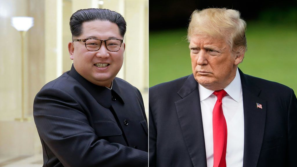 """(COMBO) This combination of pictures created on May 24, 2018 shows a photo taken on May 3, 2018 and released from North Korea's official Korean Central News Agency (KCNA) on May 4, 2018 of North Korea's leader Kim Jong Un in an undisclosed location in North Korea, and US President Donald Trump walking to board Marine One from the South Lawn of the White House on May 23, 2018 in Washington, DC.   Trump is heading to New York to attend a roundtable discussion on immigration.   / AFP PHOTO / KCNA VIA KNS AND AFP PHOTO / - AND Mandel NGAN /  - South Korea OUT / REPUBLIC OF KOREA OUT   ---EDITORS NOTE--- RESTRICTED TO EDITORIAL USE - MANDATORY CREDIT """"AFP PHOTO/KCNA VIA KNS"""" - NO MARKETING NO ADVERTISING CAMPAIGNS - DISTRIBUTED AS A SERVICE TO CLIENTS THIS PICTURE WAS MADE AVAILABLE BY A THIRD PARTY. AFP CAN NOT INDEPENDENTLY VERIFY THE AUTHENTICITY, LOCATION, DATE AND CONTENT OF THIS IMAGE. THIS PHOTO IS DISTRIBUTED EXACTLY AS RECEIVED BY AFP.  /"""