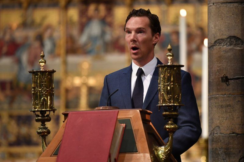 British actor, Benedict Cumberbatch speaks at a memorial service for British scientist Stephen Hawking during which his ashes will be buried in the nave of the Abbey church, at Westminster Abbey, in central London on June 15, 2018.      A message from late British astrophysics giant Stephen Hawking was beamed towards the nearest black hole on Friday as his remains were laid to rest in London's Westminster Abbey. / AFP PHOTO / POOL AND AFP PHOTO / Ben STANSALL