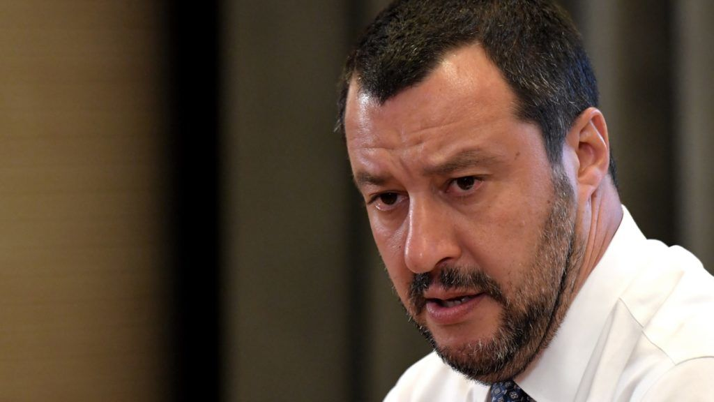 Italy's Interior Minister and Deputy Prime Minister Matteo Salvini speaks during a press conference in Rome, on June 25, 2018. Salvini said the Lifeline rescue ship which belongs to German NGO Lifeline and which is currently stranded in Maltese waters with more than 200 migrants on board will not be allowed to dock in Italy. / AFP PHOTO / TIZIANA FABI