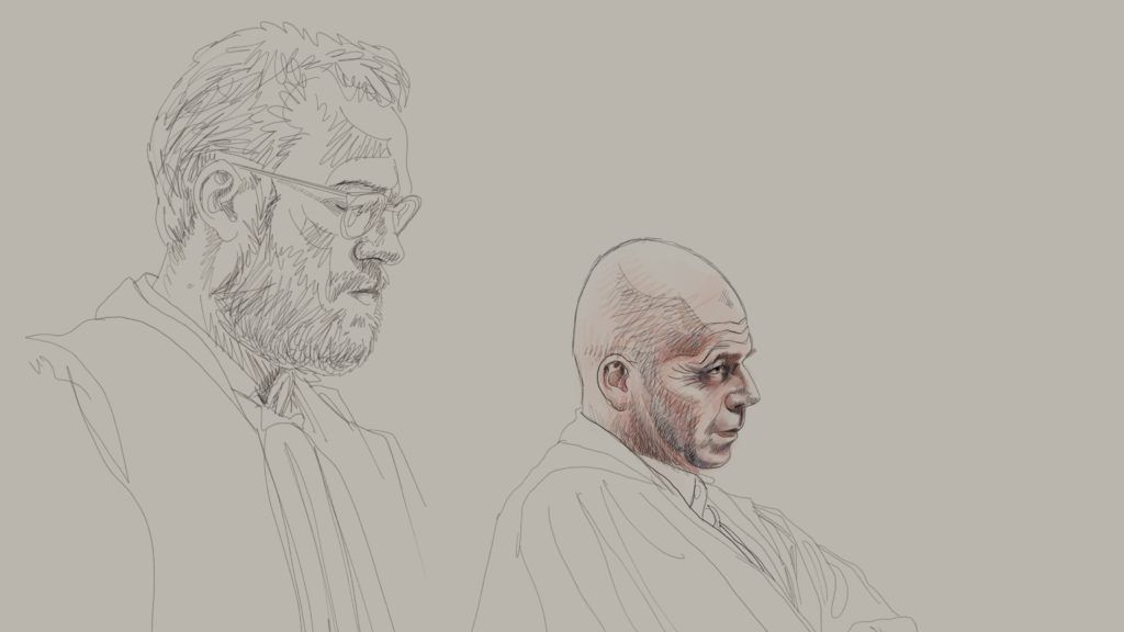 Drawing by Igor Preys shows evocation of Lawyer Romain Delcoigne and Lawyer Sven Mary, representing Abdeslam at the trial of Abdeslam and Ayari for attempted murder in a terrorist context, on March 15th in the Rue Dries - Driesstraat in Forest - Vorst, in Brussels, in front of the Brussels criminal court, Monday 23 April 2018. In the shooting, five police officers were injured and an alleged terrorist, Mohamed Belkaid, was killed. The shooting happened during a search of the apartment, part of the investigation on the Paris terrorist attacks. Abdeslam and Ayari won't be attending the judgement day of his trial. BELGA PHOTO IGOR PREYS