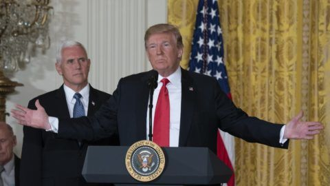 United States President Donald J. Trump speaks during a meeting with Vice President Mike Pence of the National Space Council at The White House in Washington, DC, June 18, 2018. Trump signed Space Policy Directive 3 during the meeting. Chris Kleponis / CNP | usage worldwide