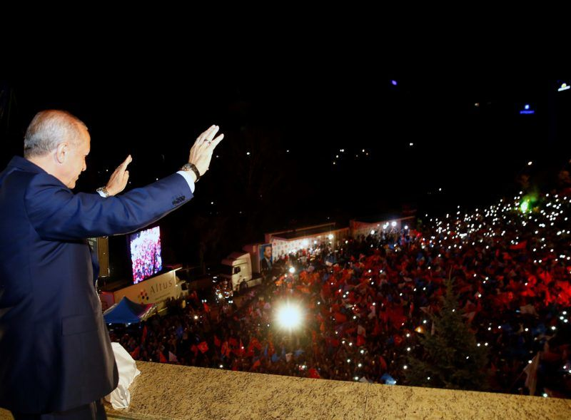 ANKARA, TURKEY - JUNE 25: President of Turkey and leader of the Justice and Development Party (AK Party) Recep Tayyip Erdogan greets the crowd from the balcony of the ruling AK Party's headquarters following his election success in presidential and parliamentary elections in Ankara, Turkey on June 25, 2018.     Kayhan Ozer / Anadolu Agency