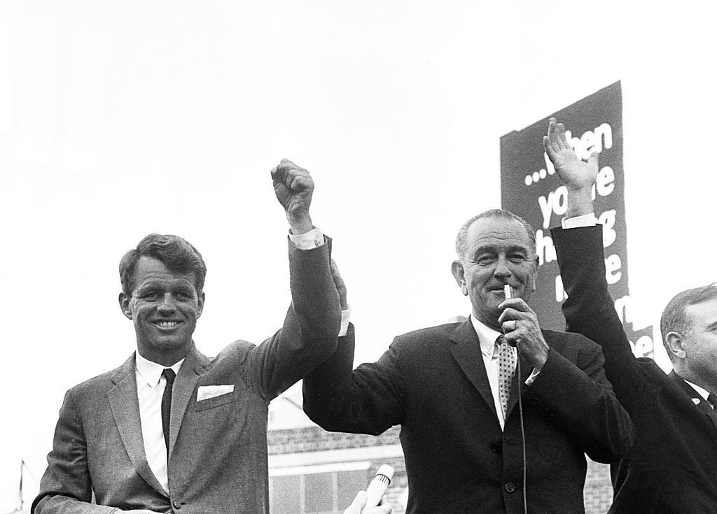 President Lyndon B. Johnson campaigns in New York for Robert Kennedy as Kennedy runs for the Senate. Earlier, Johnson passed over Kennedy as a Vice Presidential running mate. (Photo by © CORBIS/Corbis via Getty Images)
