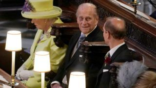 Queen Elizabeth II, the Duke of Edinburgh and the Earl of Wessex during the wedding of Prince Harry and Meghan Markle at  St George's Chapel at Windsor Castle. PRESS ASSOCIATION Photo. Picture date: Saturday May 19, 2018. See PA story ROYAL Wedding. Photo credit should read: Owen Humphreys/PA Wire