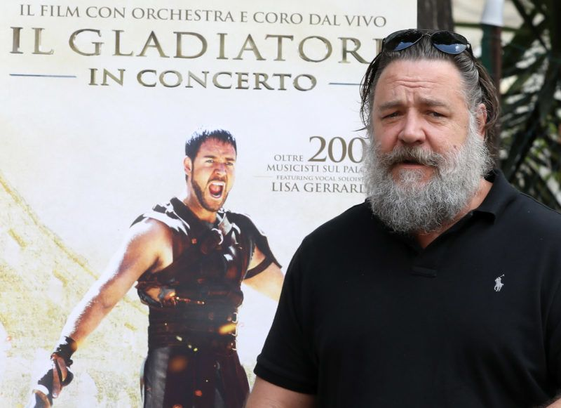 ROME, ITALY - JUNE 05:  Russell Crowe attends the 'Il Gladiatore In Concerto' presentation on June 5, 2018 in Rome, Italy.  (Photo by Elisabetta A. Villa/Getty Images)