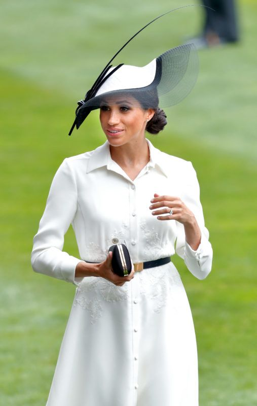 ASCOT, UNITED KINGDOM - JUNE 19: (EMBARGOED FOR PUBLICATION IN UK NEWSPAPERS UNTIL 24 HOURS AFTER CREATE DATE AND TIME) Meghan, Duchess of Sussex attends day 1 of Royal Ascot at Ascot Racecourse on June 19, 2018 in Ascot, England. (Photo by Max Mumby/Indigo/Getty Images)