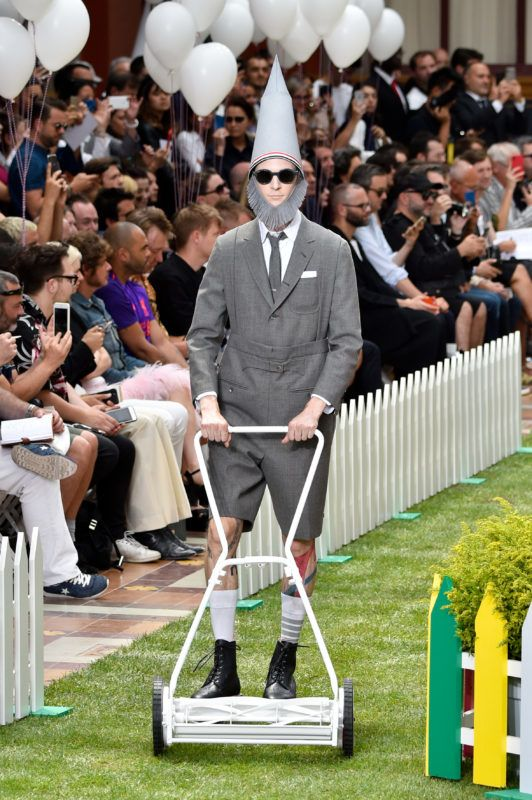 PARIS, FRANCE - JUNE 23:  A model walks the runway during the Thom Browne Menswear Spring/Summer 2019 show as part of Paris Fashion Week on June 23, 2018 in Paris, France.  (Photo by Peter White/Getty Images)