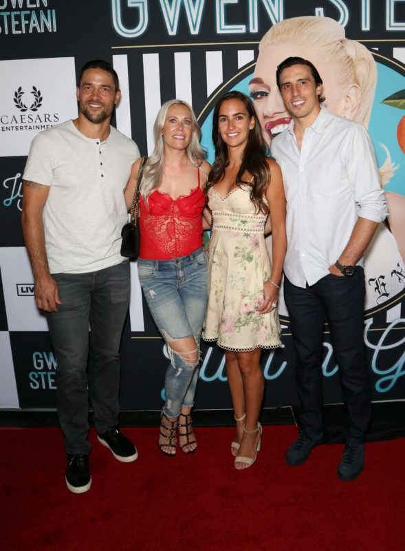 """LAS VEGAS, NV - JUNE 27:  (L-R) Deryk Engelland of the Vegas Golden Knights, his wife Melissa Engelland, Veronique Fleury and her husband, Marc-Andre Fleury of the Vegas Golden Knights, attend the grand opening of the """"Gwen Stefani - Just a Girl"""" residency at Planet Hollywood Resort & Casino on June 27, 2018 in Las Vegas, Nevada.  (Photo by Gabe Ginsberg/FilmMagic)"""