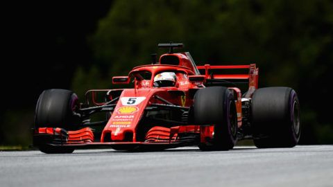 SPIELBERG, AUSTRIA - JUNE 29:  Sebastian Vettel of Germany driving the (5) Scuderia Ferrari SF71H on track during practice for the Formula One Grand Prix of Austria at Red Bull Ring on June 29, 2018 in Spielberg, Austria.  (Photo by Patrik Lundin/Getty Images)