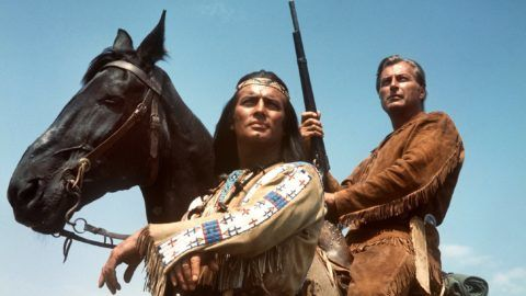 (dpa files) - Winnetou (Pierre Brice, L), Chief of the Apache Indians, and his white friend Old Shatterhand (Lex Barker) are the heroes of the films based on the German western novels by Karl May, here pictured in a movie scene from 'Im Tal des Todes' (In the death valley), 1968. The two heroes are currently spoofed in the German comedy blockbuster 'Der Schuh des Manitu' ('Manitou's Shoe', 2001), which was a surprise hit at the Cannes film market and recently sold to many countries worldwide.