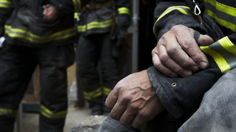 October 2010, Prague, Czech Republic. Building collapssed. Firefighter resting during the rescue work.