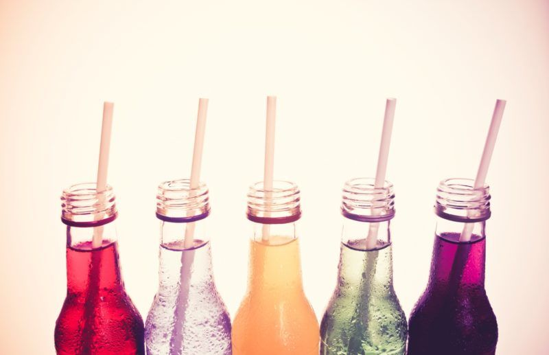 close up  the cool colorful drink  in vintage style