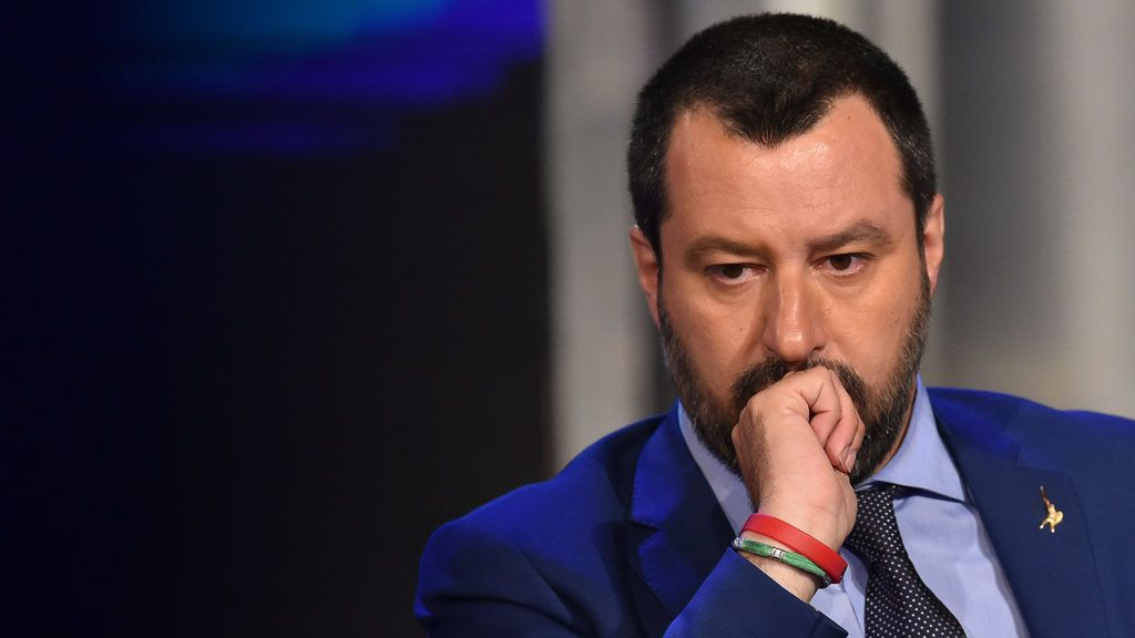 """Italy's Interior Minister and Deputy Prime Minister Matteo Salvini gestures as he speaks during the Italian talk show """"Porta a Porta"""", broadcast on Italian channel Rai 1, in Rome, on June 20, 2018. / AFP PHOTO / Andreas SOLARO"""