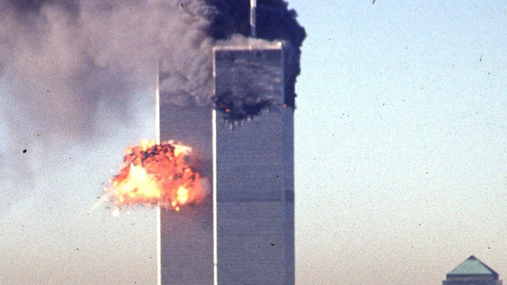 A hijacked commercial plane crashes into the World Trade Center 11 September 2001 in New York. The landmark skyscrapers were destroyed in the attack. The all-out war on terrorism unleashed by Washington after the attacks marked a turning point in US-Arab relations and nowhere more so than in once top ally Saudi Arabia. With 15 of the 19 suicide hijackers carrying Saudi nationality and mastermind Osama bin Laden being the scion of a leading Saudi family, the desert kingdom and world oil kingpin, suddenly found itself on the frontline of the war on terror prosecuted by US President George W. Bush.  AFP PHOTO SETH MCALLISTER / AFP PHOTO / SETH MCALLISTER