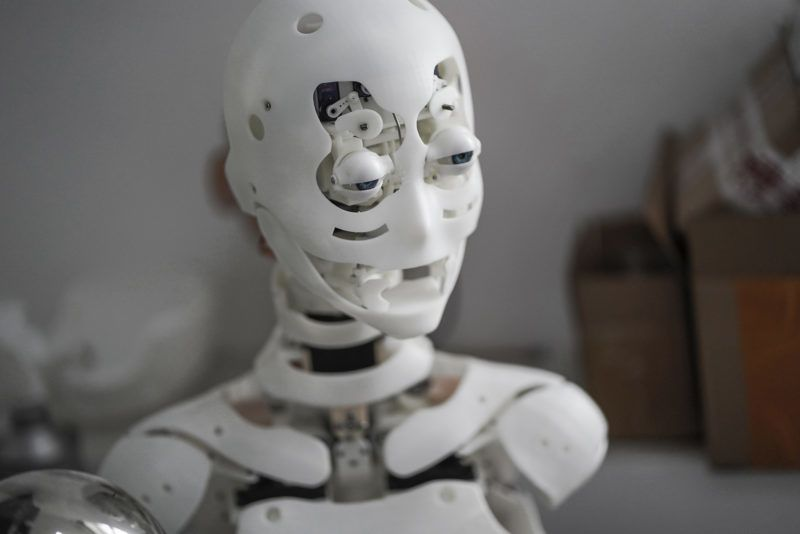 """This photo taken on February 1, 2018 shows a robot in a lab of a doll factory of EXDOLL, a firm based in the northeastern Chinese port city of Dalian.With China facing a massive gender gap and a greying population, a company wants to hook up lonely men and retirees with a new kind of companion: """"Smart"""" sex dolls that can talk, play music and turn on dishwashers. / AFP PHOTO / FRED DUFOUR / TO GO WITH China-sex-lifestyle, FOCUS by Joanna CHIU"""