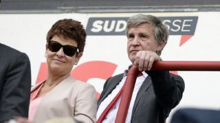 20140518 - LIEGE, BELGIUM: Standard's chairman Roland Duchatelet (R) and his partner Marieke Hofte pictured after the Jupiler Pro League match of Play-Off 1, between Standard de Liege and KRC Genk, Sunday 18 May 2014 in Liege, on the tenth and last day of the Play-Off 1 of the Belgian soccer championship. BELGA PHOTO YORICK JANSENS