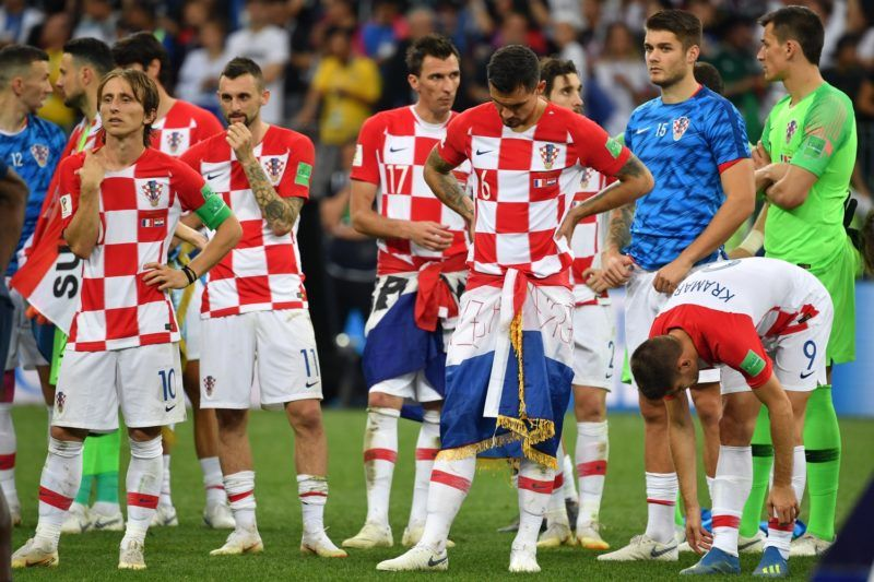 LUKA MODRIC (CRO), Marcelo BROZOVIC (CRO), Mario MANDZUKIC (CRO), Dejan LOVREN (CRO), Andrej KRAMARIC (CRO), disappointment, frustrated, disappointed, frustrated, dejected, action. France (FRA) - Croatia (CRO) 4-2, Final, Game 64, on 15.07.2018 in Moscow; Luzhniki Stadium. Football World Cup 2018 in Russia from 14.06. - 15.07.2018. | usage worldwide