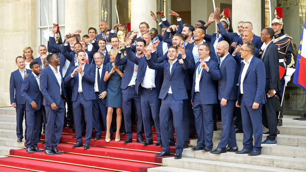 PARIS, FRANCE - JULY 16:  French President Emmanuel Macron receives the France football team during a ceremony at the Elysee Palace on July 16, 2018 in Paris, France. France beat Croatia in the 2018 World Cup Final in Russia.  (Photo by Aurelien Meunier/Getty Images)