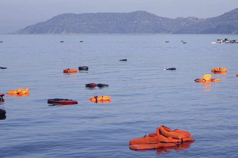Lesvos island, Greece in November 2015. Refugees continue to arrive every day. Although the remaining when they are saved are floating on the water, the lifejackets. Floating life jackets and refugees on dingies.  Most of those lifejackets and rings are fake and low quality. Some of them are just bicycle tubes.  (Photo by Nicolas Economou/NurPhoto)
