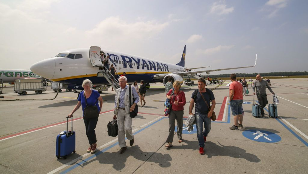 Ryanair is the largest low cost carrier in Europe. The fleet entirely consists Boeing 737-800. The interior of this specific plane is the new Boeing Sky Interior offering to the passenger a more open environment. Images are from June 2018 during a flight between Chania Airport, Greece and Eindhoven, The Netherlands (Photo by Nicolas Economou/NurPhoto)