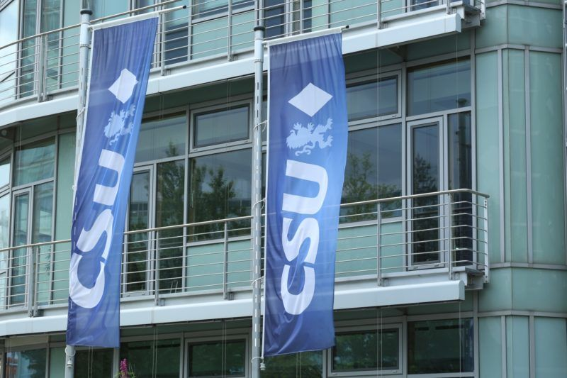 """The headquarters of the Christian Social Union (CSU) are seen in the Mies-van-der-Rohe-Strasse in Munich. The party has been in the critic because of their reaction to the """"#ausgehetzt"""" demonstration in Munich. (Photo by Alexander Pohl/NurPhoto)"""