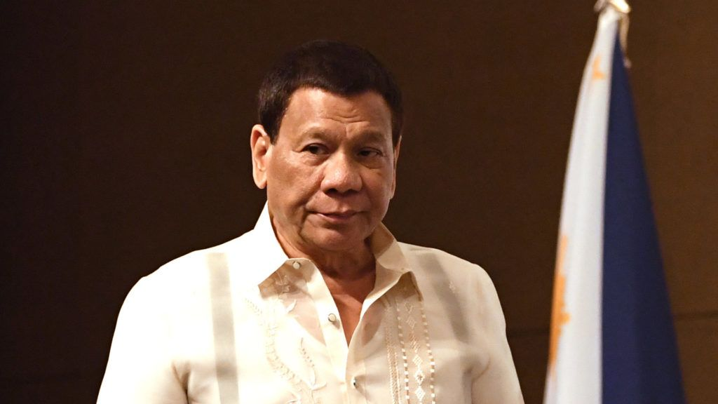 Philippine President Rodrigo Duterte attends a South Korea-Philippines business forum in Seoul on June 5, 2018. Duterte is in Seoul for a three-day visit to discuss ways to bolster economic and other cooperation between the two countries.  / AFP PHOTO / Jung Yeon-je