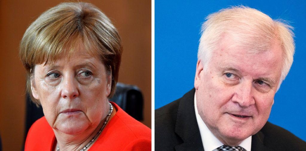 A combination of pictures made on June 27, 2018 shows German Chancellor Angela Merkel before the weekly cabinet meeting in Berlin on June 27, 2018 and German Interior Minister Horst Seehofer during a press conference on May 3, 2018 in Berlin.   Almost three years after Angela Merkel's fateful welcome to a million migrants, her boldest move has come back to haunt her, with opponents at home and abroad smelling blood. / AFP PHOTO / John MACDOUGALL AND Odd ANDERSEN