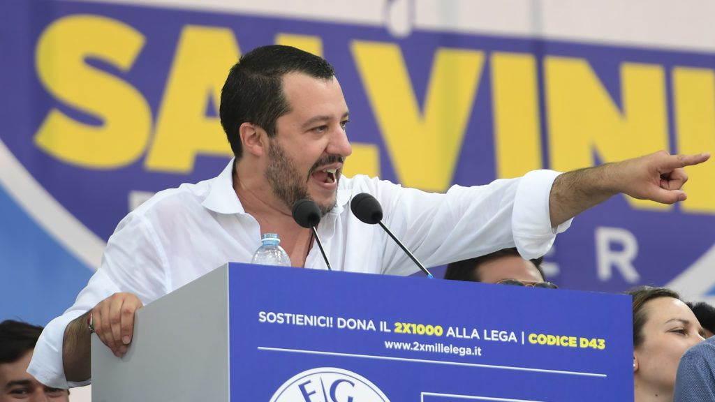 Italy's Interior Minister and Deputy Prime Minister Matteo Salvini speaks during the annual meeting of Italy's far right party Lega Nord (North League) in Pontida, northeast Milan, on July 1, 2018.   / AFP PHOTO / MIGUEL MEDINA