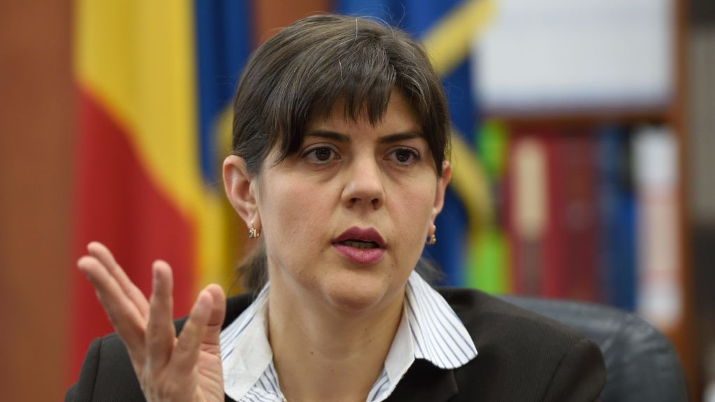 (FILES) In this file photo taken on December 6, 2016 in Bucharest, the head of National Anti corruption Department (DNA), Laura Codruta Kovesi, gestures during an interview with AFP at DNA headquarters.  Romanian president Klas Iohannis has sacked top antigraft prosecutor Laura Codruta Kovesi, AFP reported on July 9, 2018. / AFP PHOTO / DANIEL MIHAILESCU