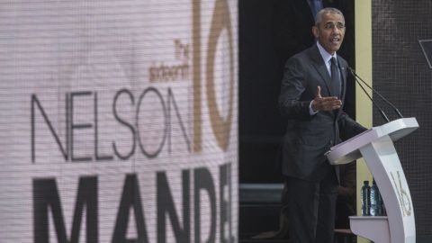 Former US President Barack Obama speaks during the 2018 Nelson Mandela Annual Lecture at the Wanderers cricket stadium in Johannesburg on July 17, 2018. Former US president Barack Obama will deliver the Nelson Mandela Annual Lecture, urging young people to fight to defend democracy, human rights and peace, to a crowd of 15,000 people at the club as the centrepiece of celebrations marking 100 years since Nelson Mandela's birth. Obama has made relatively few public appearances since leaving the White House in 2017, but he has often credited Mandela for being one of the great inspirations in his life.  / AFP PHOTO / GIANLUIGI GUERCIA