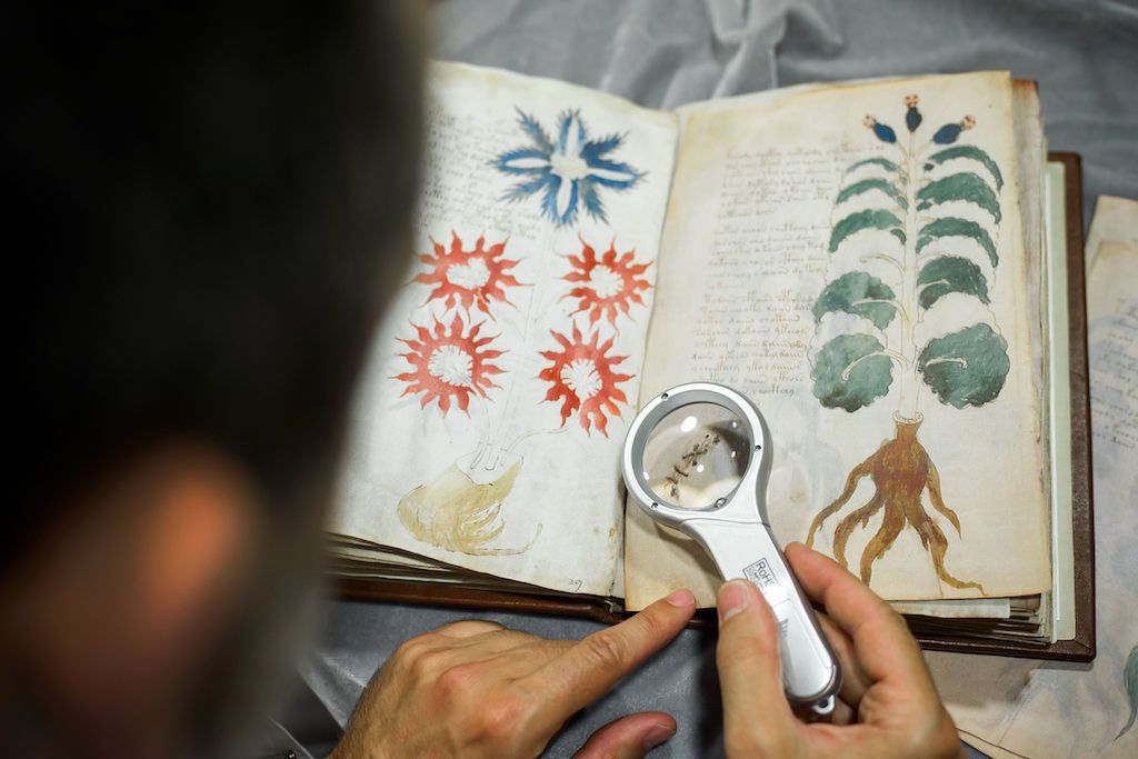 Quality control operator of the Spanish publishing outfit Siloe Luis Miguel works on cloning the illustrated codex hand-written manuscript Voynich in Burgos on August 9, 2016.  The so-called Voynich Manuscript,  a small unassuming book usually stored in a Yale University vault, is one of the most mysterious books in the world, that a small publishing house in northern Spain has finally secured the right to clone.  The precious document containing elegant writing and strange drawings of unidentified plants and naked women is believed to have been written six centuries ago in an unknown or coded language that no one -- not even the best cryptographers -- has ever cracked. / AFP PHOTO / CESAR MANSO / TO GO WITH AFP STORY BY MARIANNE BARRIAUX -